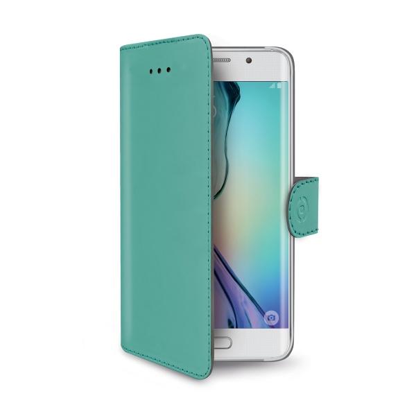 Pouzdro CELLY Wally pro Samsung Galaxy S6 Edge tyrkysové