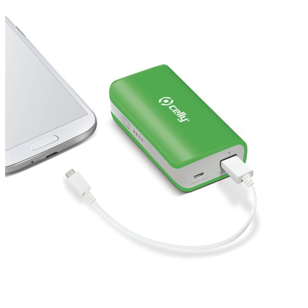 Powerbank CELLY, 4000 mAh, 1A, zelená