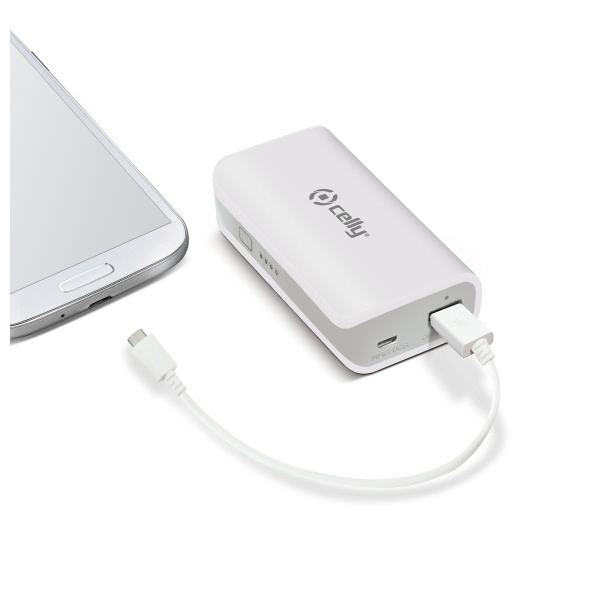 Powerbank CELLY, 4000 mAh, 1A, bílá