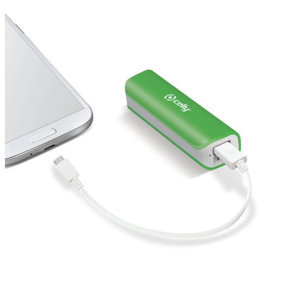Powerbank CELLY, 2600 mAh, 1A, zelená