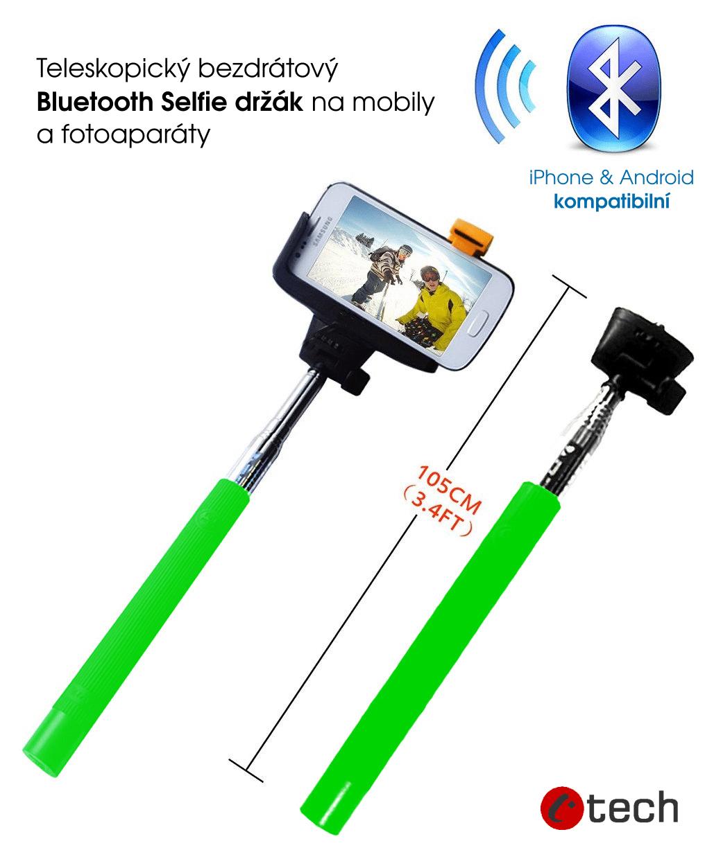 Teleskopický selfie držák bluetooth spoušť, zelená