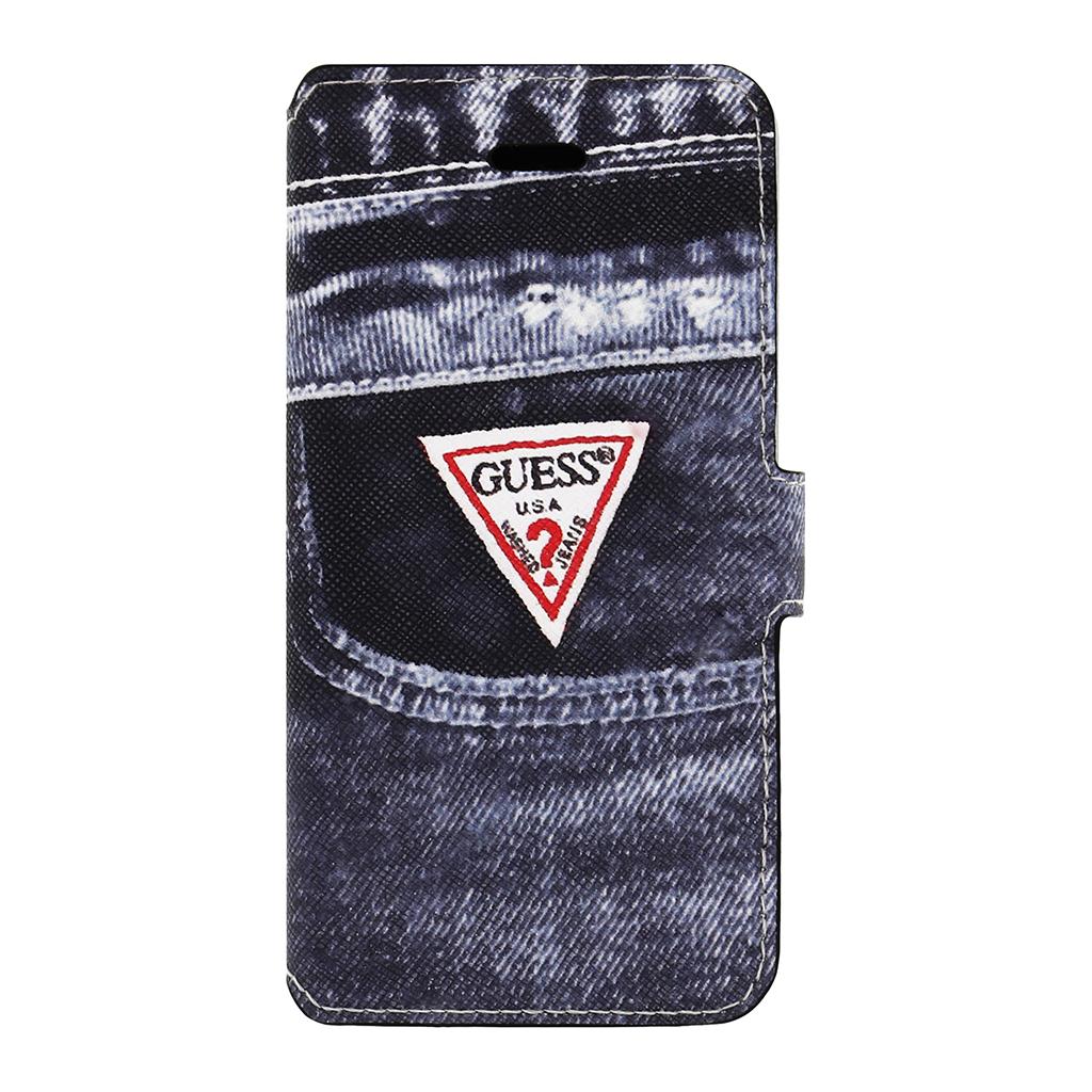 Stylové pouzdro na mobil pro iPhone 5S Guess GUMFLBKP5DEBK Jeans