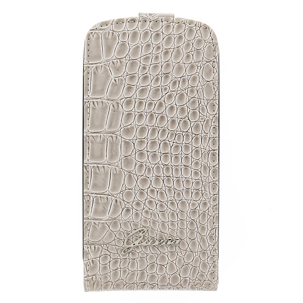 Flipové pouzdro na Samsung Galaxy S3 Guess Croco béžové