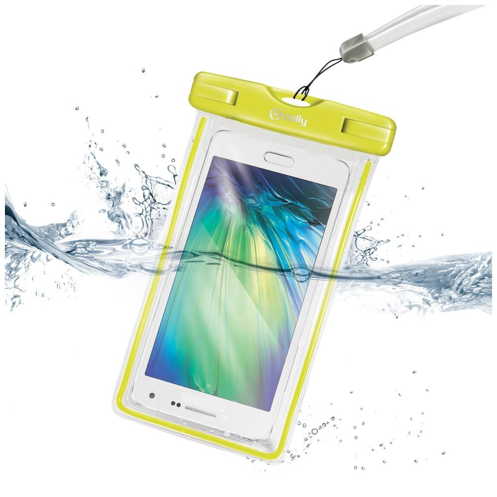 """Univerzální voděodolné pouzdro CELLY pro telefony do 5,7"""", žluté"""