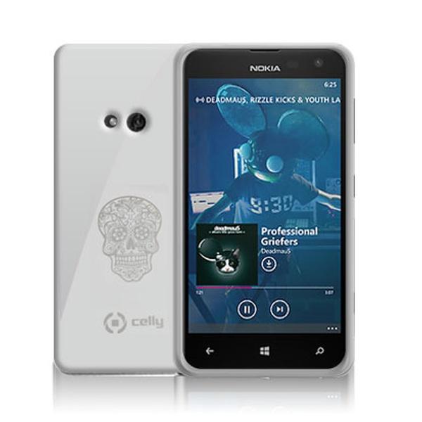 TPU pouzdro CELLY Gelskin Skull pro Nokia Lumia 625, stříbrné