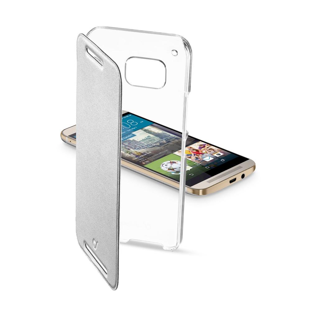 Pouzdro flip HTC One M9 CellularLine Clear Book stříbrné