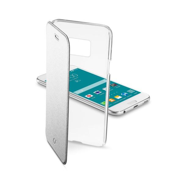 Pouzdro flip Samsung Galaxy S6 CellularLine Clear Book stříbrné