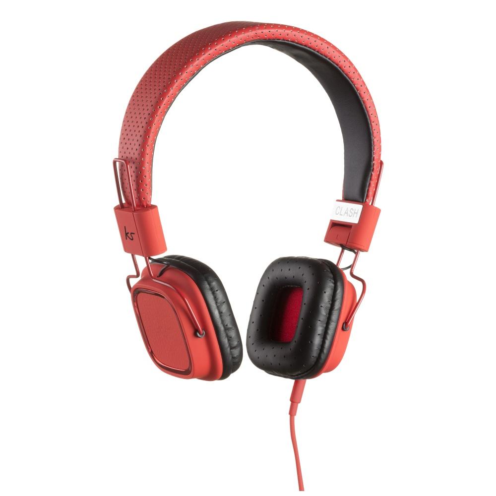 Sluchátka KitSound Clash s in-line mikrofonem 3,5 mm červená