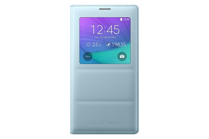 Pouzdro na mobil Samsung Galaxy Note 4 S-view EF-CN-910BME světle modré