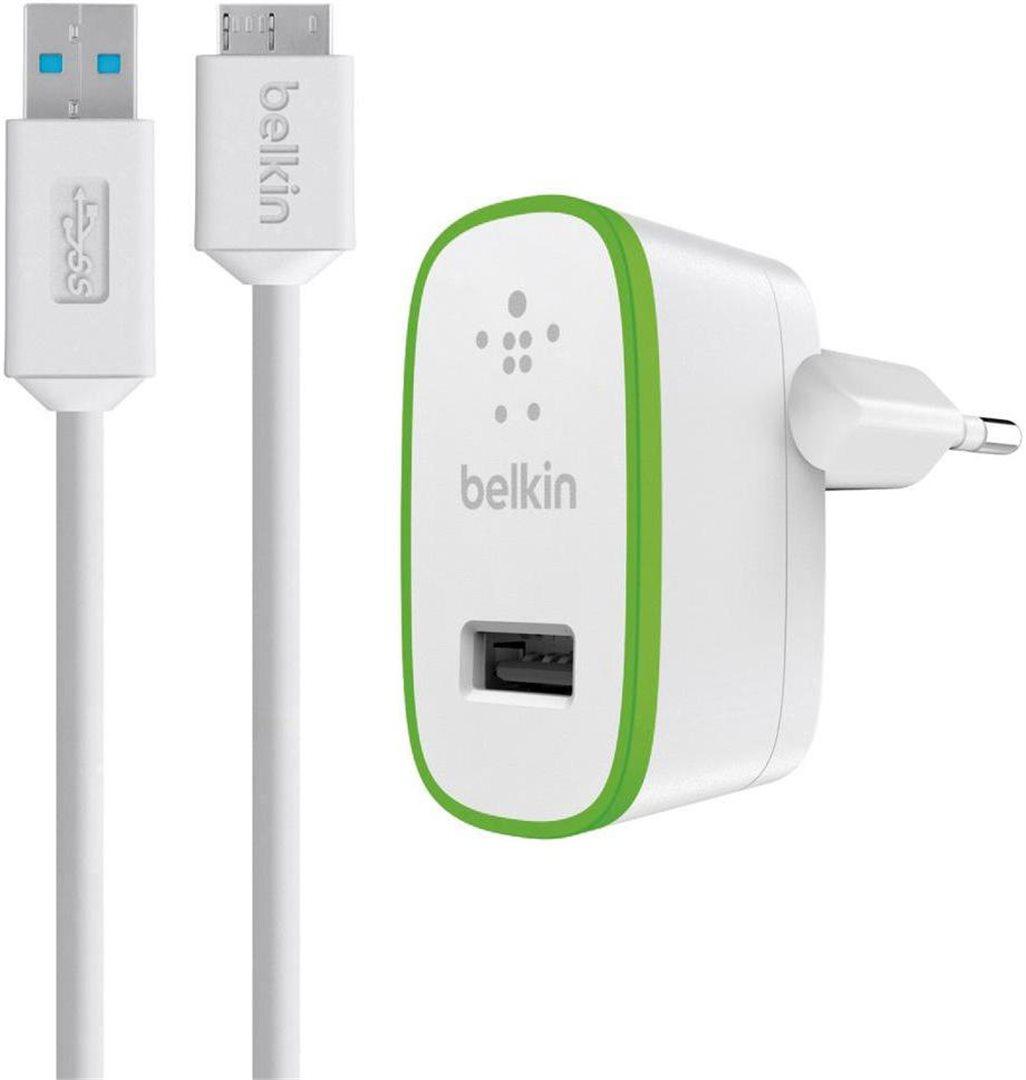BELKIN USB nabíječka 2.1A, 5V vč. 3.0 Micro-B kabelu,bílá
