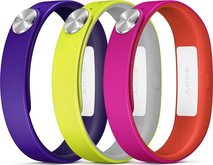 Náhradní řemínky pro Sony SWR110 SmartBand vel. L, fialová, žlutá, růžová