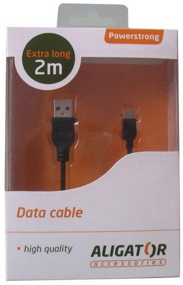 Datový kabel Powerstrong microUSB 2 m Aligator černý