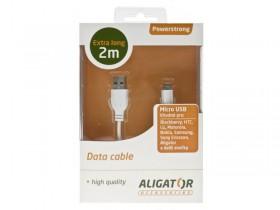 Datový kabel Powerstrong microUSB 2 m Aligator bílý