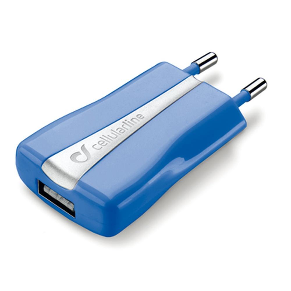 Cestovní nabíječka CellularLine s USB výstupem, modrá