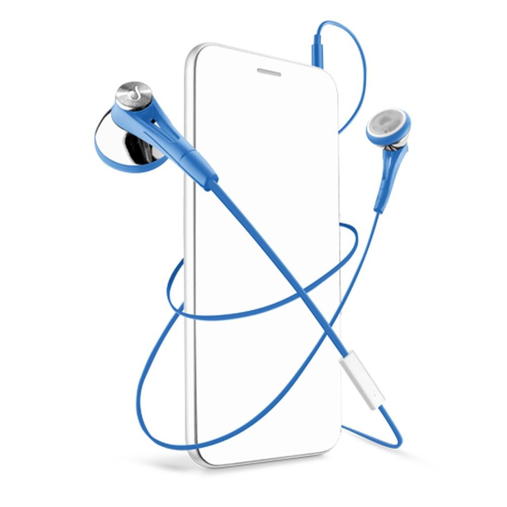 In-ear sluchátka CellularLine FIREFLY s mikrofonem, 3,5 mm jack, modré