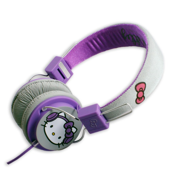 Hi-Fi sluchátka Hello Kitty, 3,5 mm jack, fialovošedé