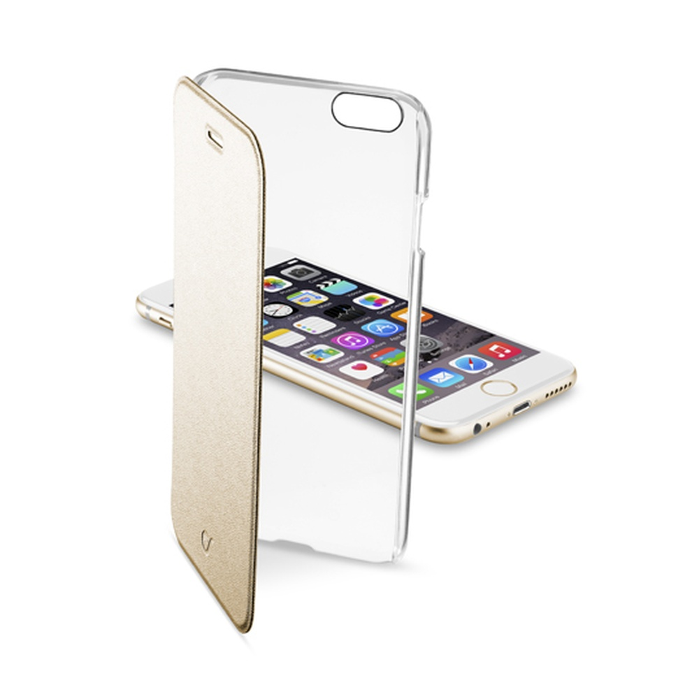 Pouzdro flip Apple iPhone 6 CellularLine Clear Book zlaté
