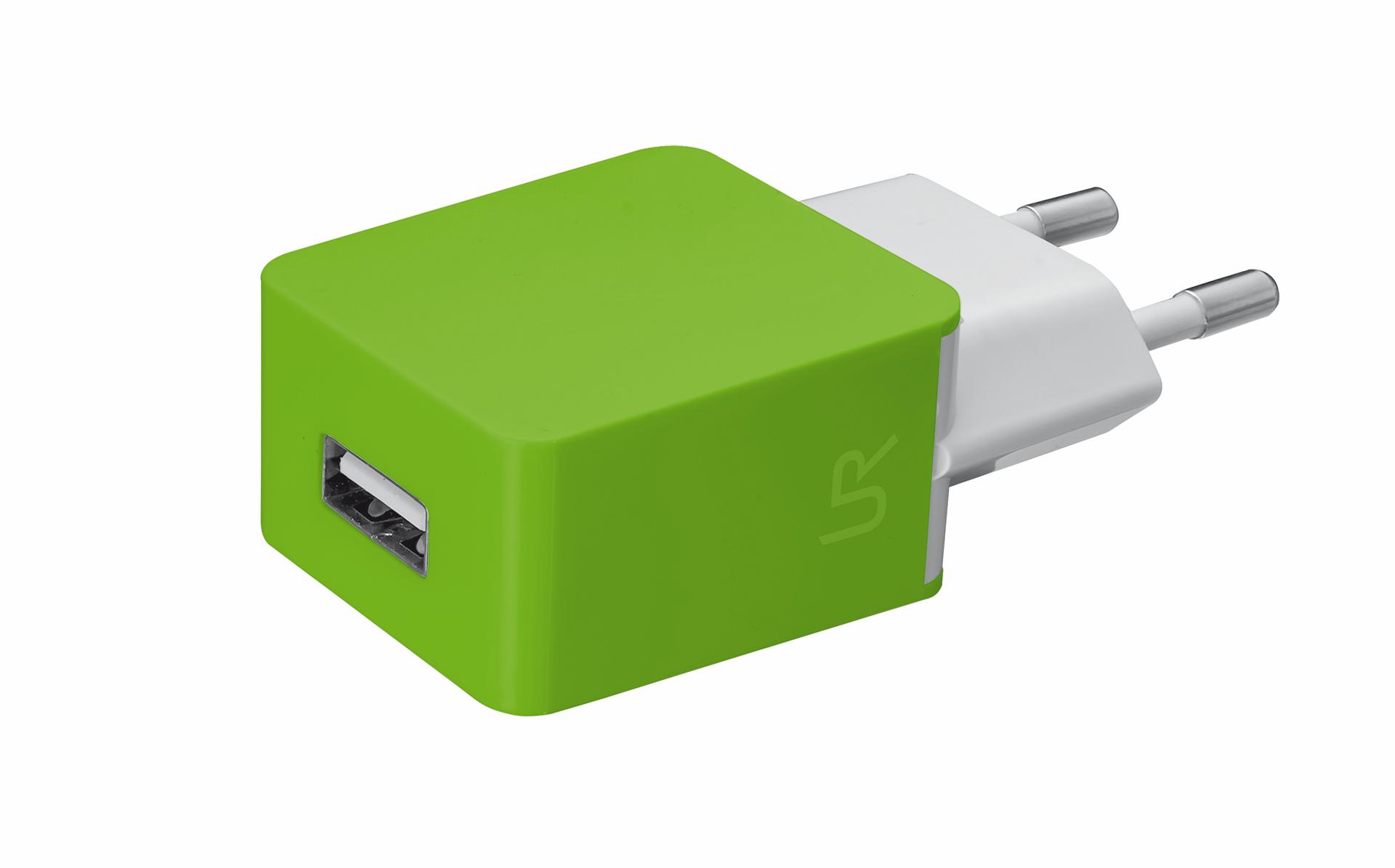 univerzální nabíječka TRUST s USB port, lime