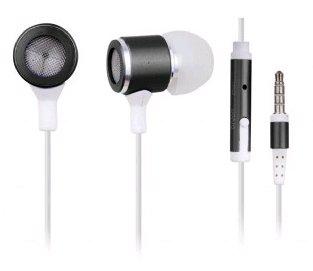 Stylová sluchátka pro MP3, kovová s mikrofem, bílé