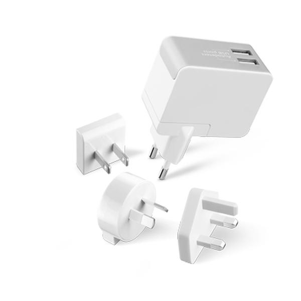 Univerzální cestovní adaptér CellularLine pro všechny světové elektrické sítě, nabíječka 2xUSB, 2,5A