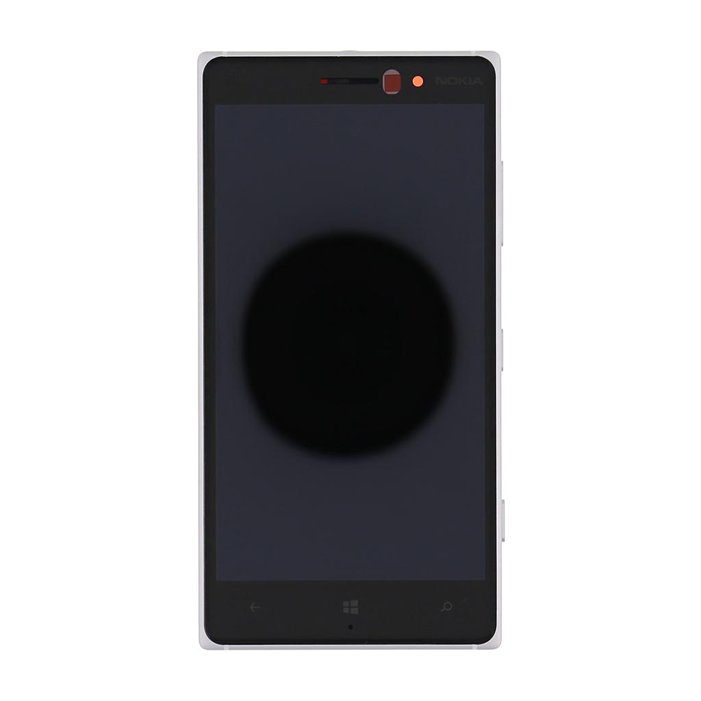 LCD Display + Dotyková Deska + Přední kryt stříbrný pro Nokia 830 Lumia