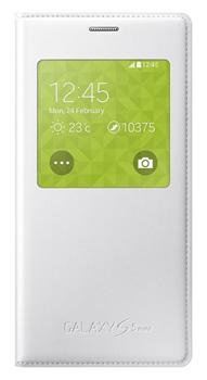 Pouzdro na mobil Samsung Galaxy S5mini EF-CG800BW S-view, Metallic White