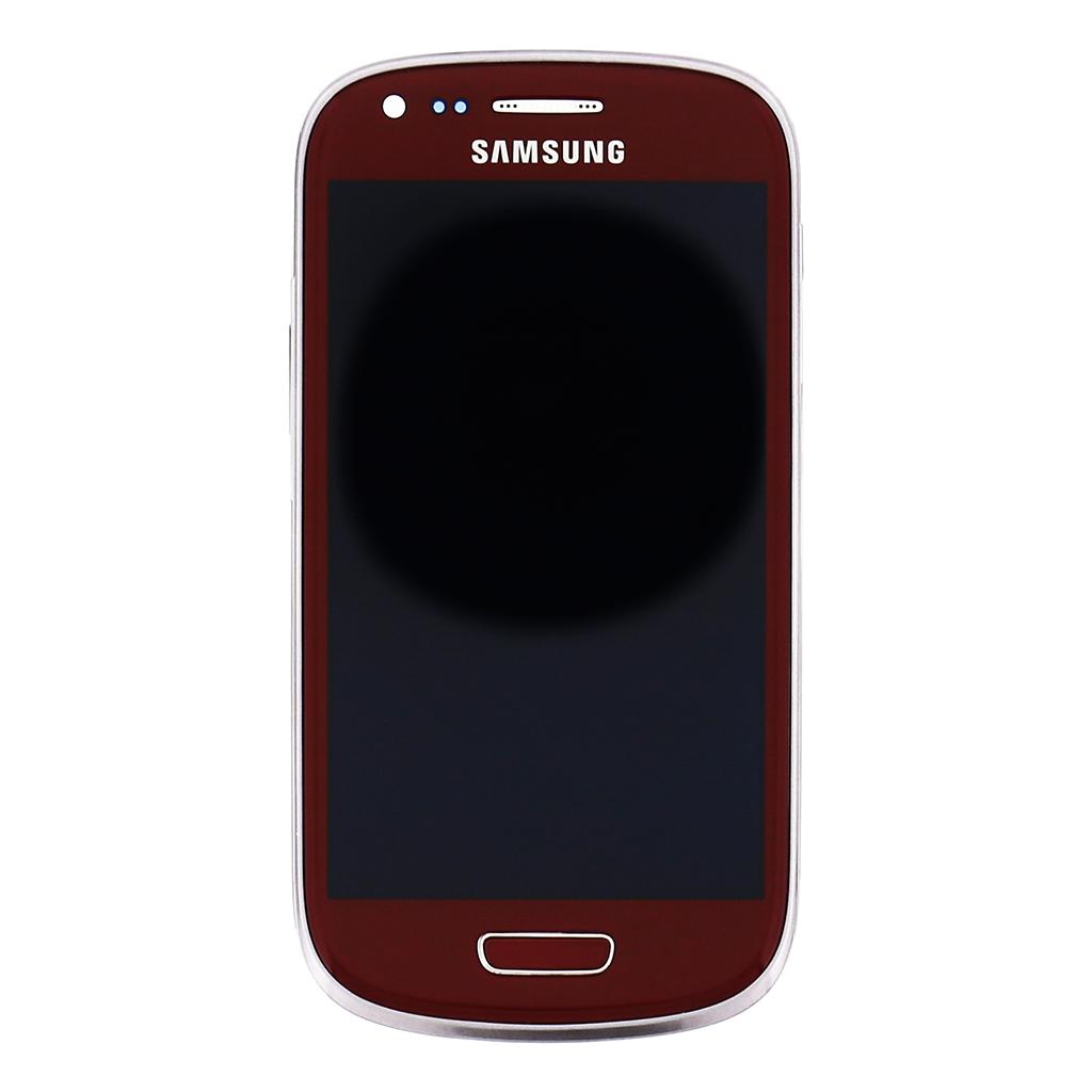 LCD display + dotyk. deska + př. kryt pro Samsung Galaxy S3mini (i8200) VE, červená