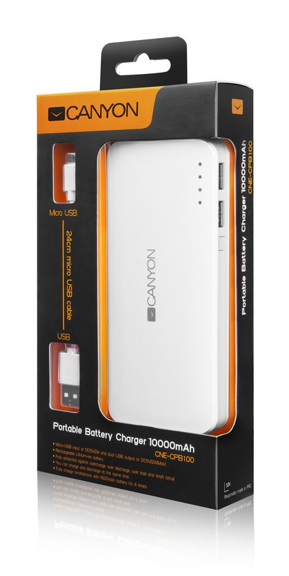CANYON PowerBank 10000mAh micro USB in/ou 5V/2A bílá