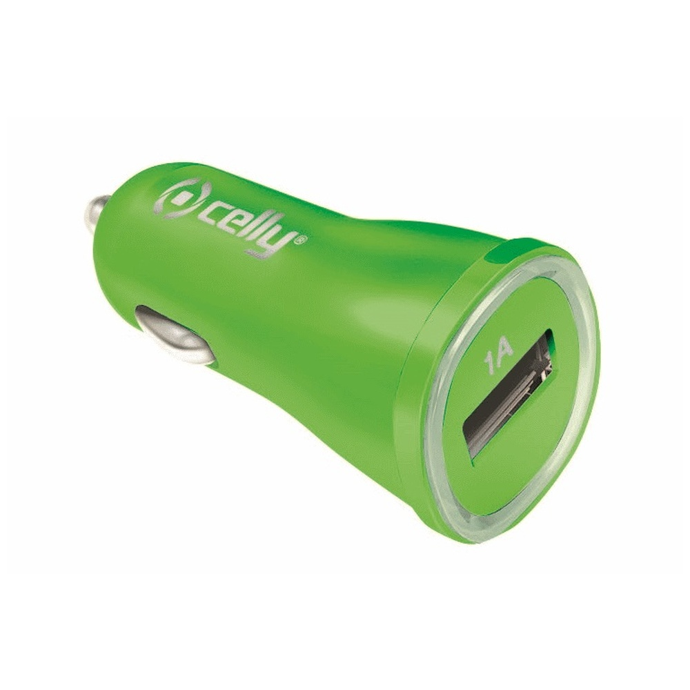 CL autonabíječka CELLY s USB výstupem 1A zelená (blister)