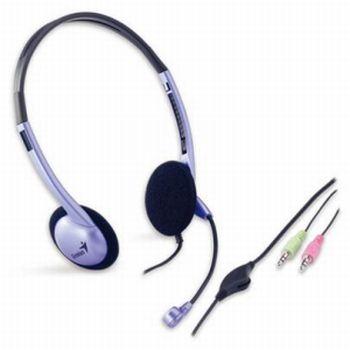 Sluchátka s mikrofonem Genius HS-02B fialové