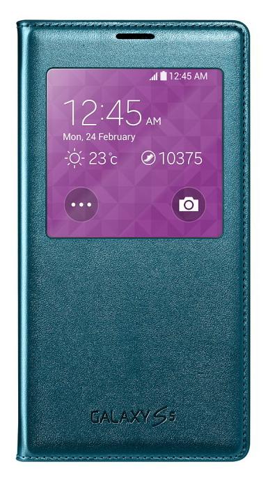 Originální pouzdro na Samsung S5 S-View EF-CG900B zelené