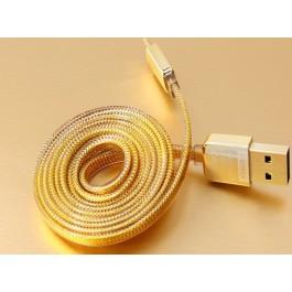 Barevný USB kabel MUVIT s konektorem micro USB, zlatý