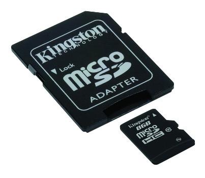 Paměťová karta KINGSTON 8GB Micro SDHC, class 10 45R/10W (s adaptérem)