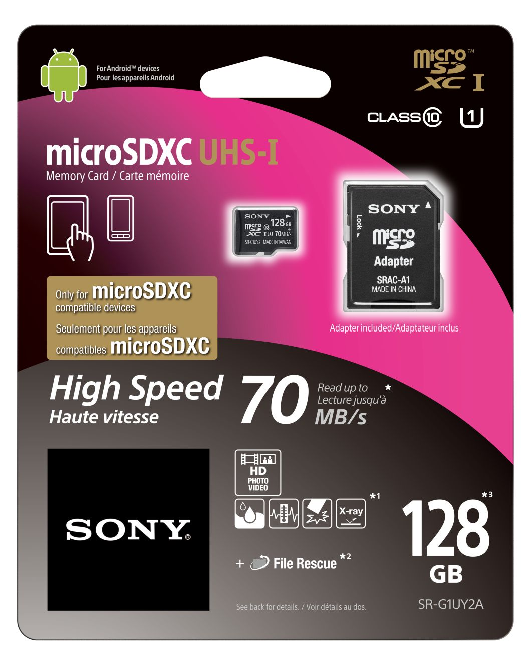 Paměťová karta SONY 128GB Micro SD class10, 70MB/s s adaptérem