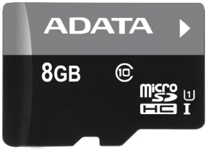 Paměťová karta ADATA 8GB Micro SDHC class 10, 50MB/s s adaptérem