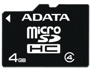 Paměťová karta ADATA 4GB Micro SDHC Class4, 4MB/s s adaptérem
