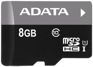 Paměťová karta ADATA 8GB Micro SDHC Class10, 50MB/s bez adaptéru