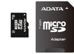 Paměťová karta ADATA 8GB Micro SDHC Class4, 14MB/s s adaptérem