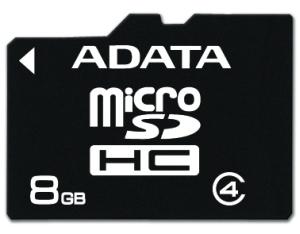 Paměťová karta ADATA 8GB MicroSDHC Class4, 4MB/s bez adaptéru