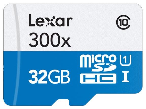 Paměťová karta Lexar 32GB micro SDHC class 10 300x s adaptérem