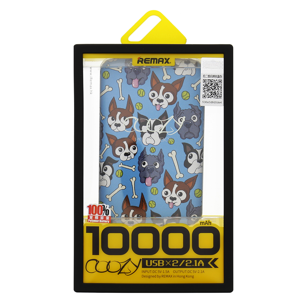 Power Bank Coozy Remax 10000mAh Li-Pol Colour Dogs (EU Blister)