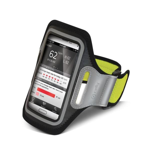 Sportovní pouzdro CELLY, velikost XXL pro Samsung Galaxy S4 a telefony podobných rozměrů, žluté