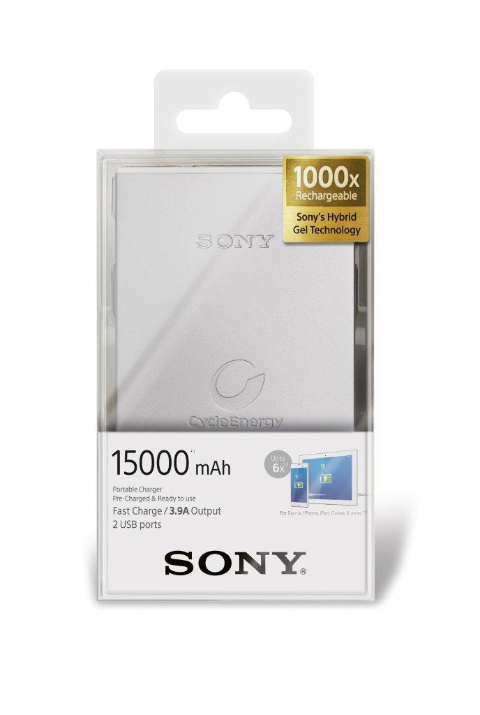 Power bank Sony přenosný zdroj USB - CP-S15S stříbrný, 15 000mAh