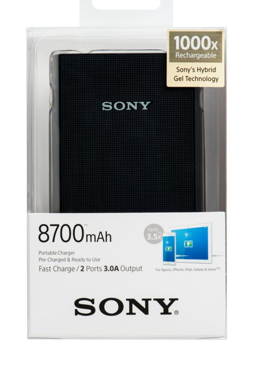 Power bank Sony přenosný zdroj USB - CP-V9 černý, 8700mAh