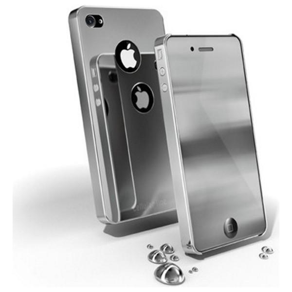 Zadní kryt+folie na Apple iPhone 4 CellularLine CHROME, stříbrný