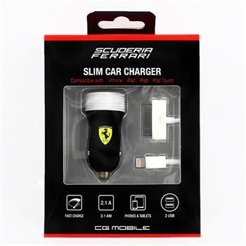 Ferrari Rubber Dual iPhone USB Autodobíječ 2,1A černá