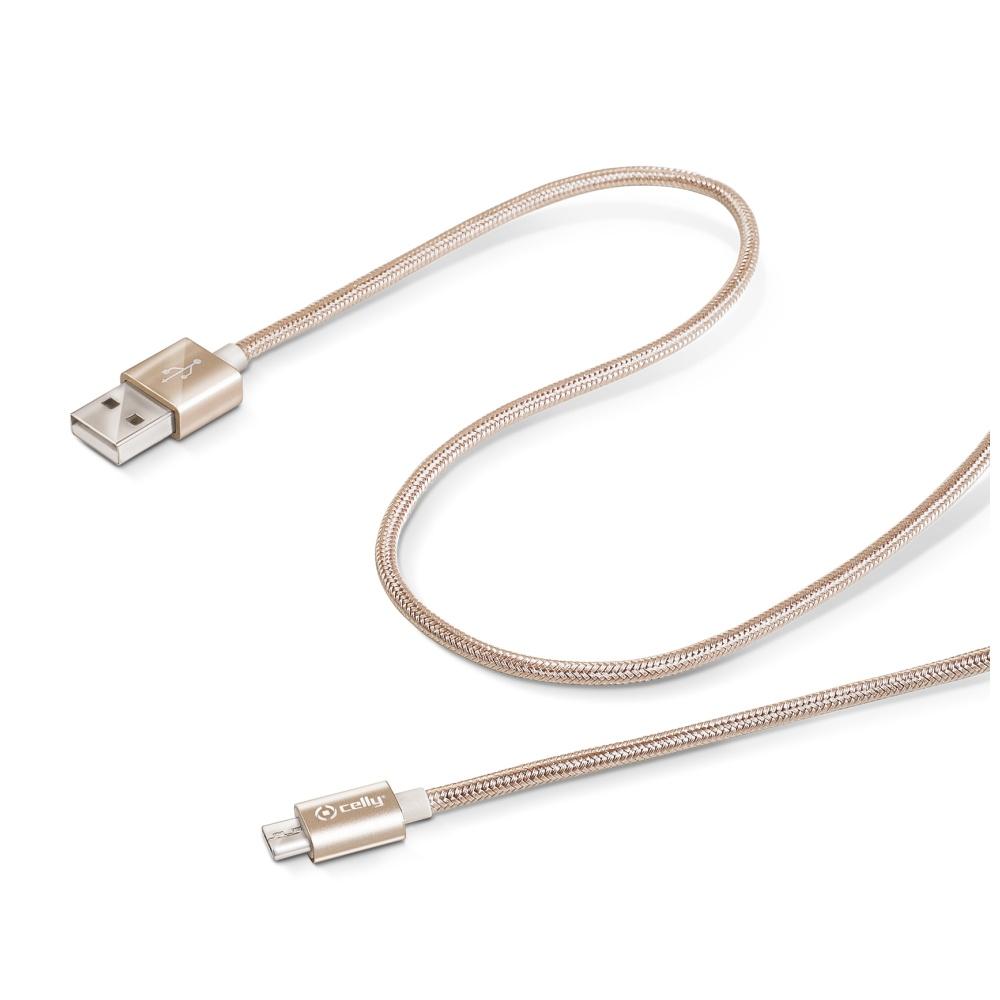 Datový kabel CELLY USB/microUSB textilní obal zlatý