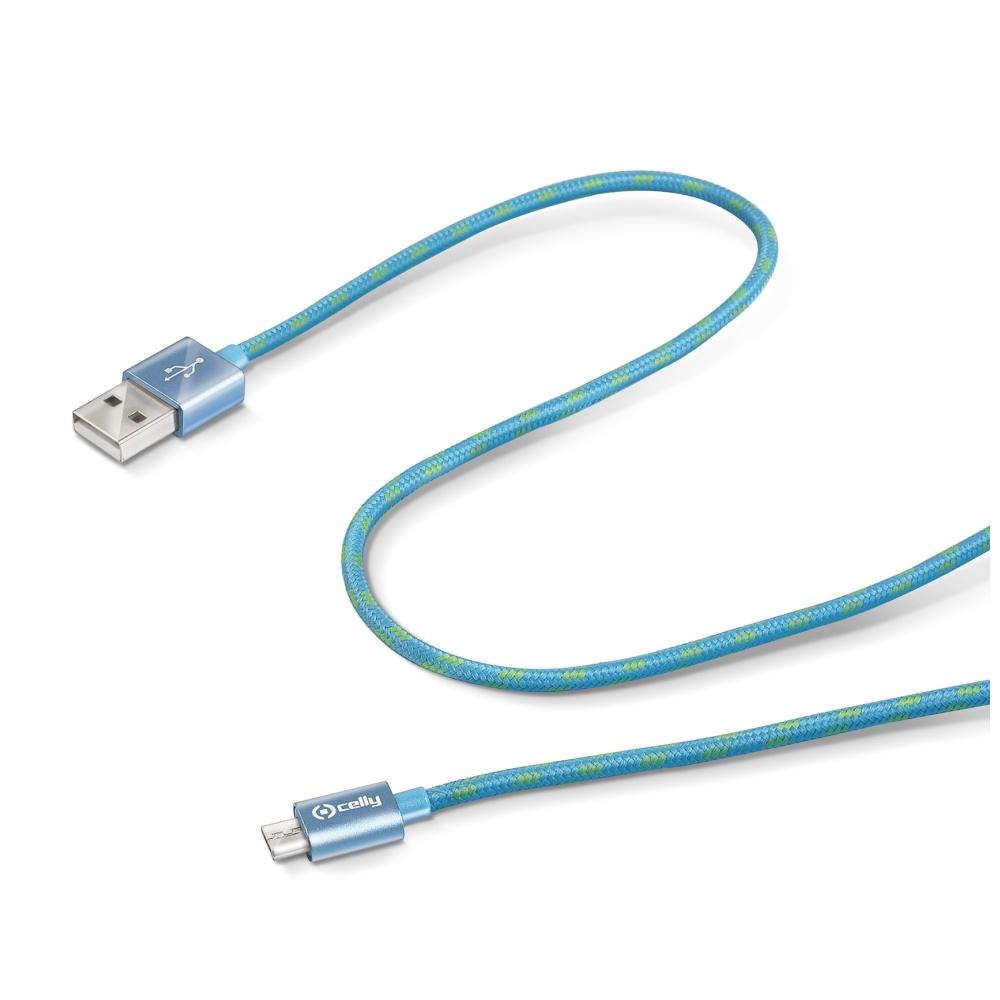 Datový kabel CELLY USB/microUSB textilní obal modrý