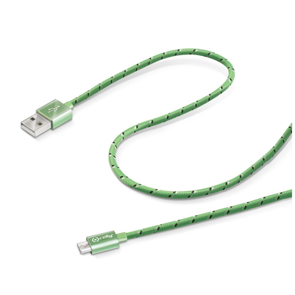 Datový kabel CELLY USB/microUSB textilní obal zelený