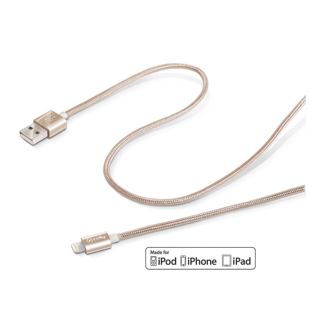 Datový kabel CELLY USB/Lightning textilní obal zlatý
